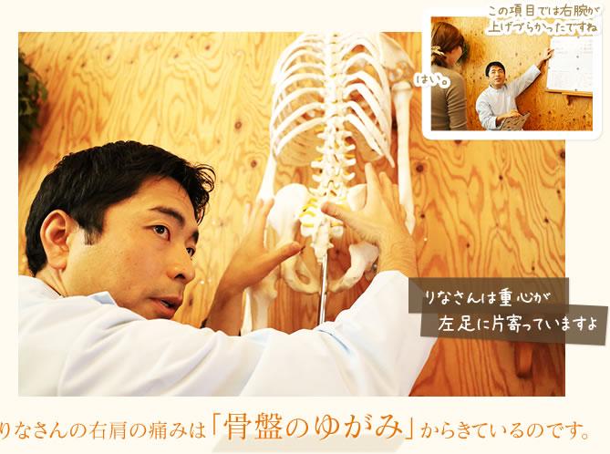 右肩の痛みは「骨盤のゆがみ」からきているのです。