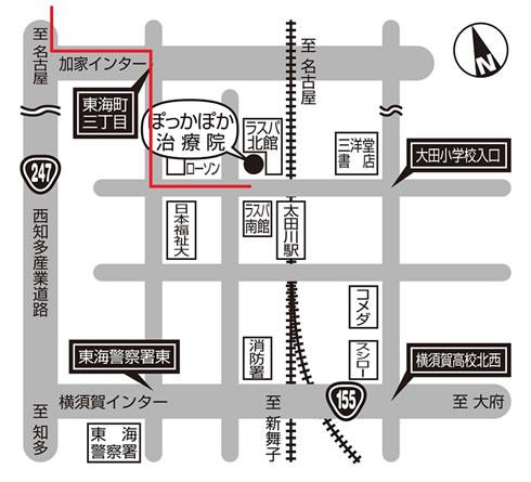 名古屋方面からのアクセスマップ